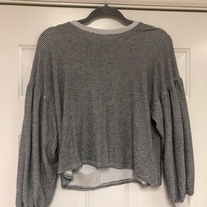 Knit Super Soft Crop Top With Puffy Sleeves